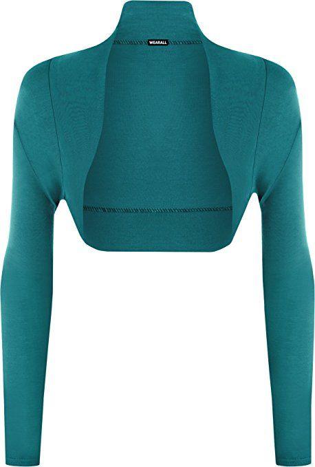 5d82906da1 Womens Plus Size Plain Long Sleeve Cropped Ladies Shrug Bolero Cardigan  Top  Amazon.co