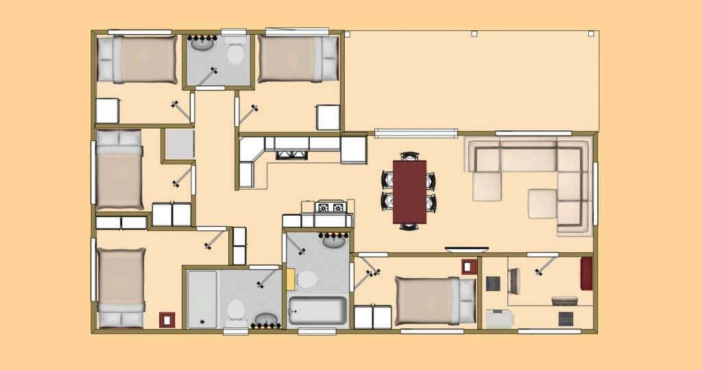 Simple do it yourself cargo container house plans for Do it yourself floor plans