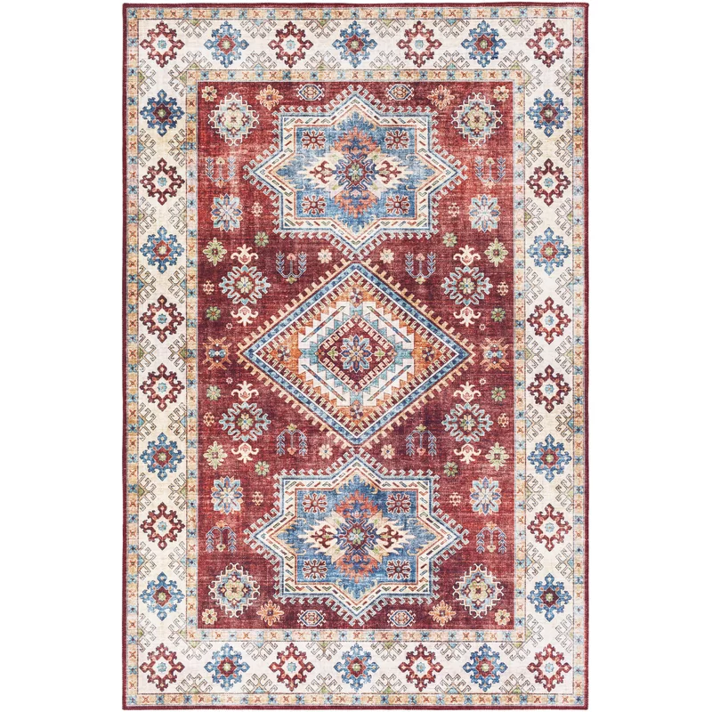 Cyr Traditional Dark Red White Area Rug Rugs Red Rugs White