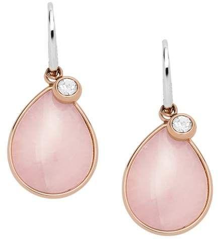 2cd592ad584 Fossil Teardrop Rose Quartz Earrings Jewelry | Women Earrings in ...