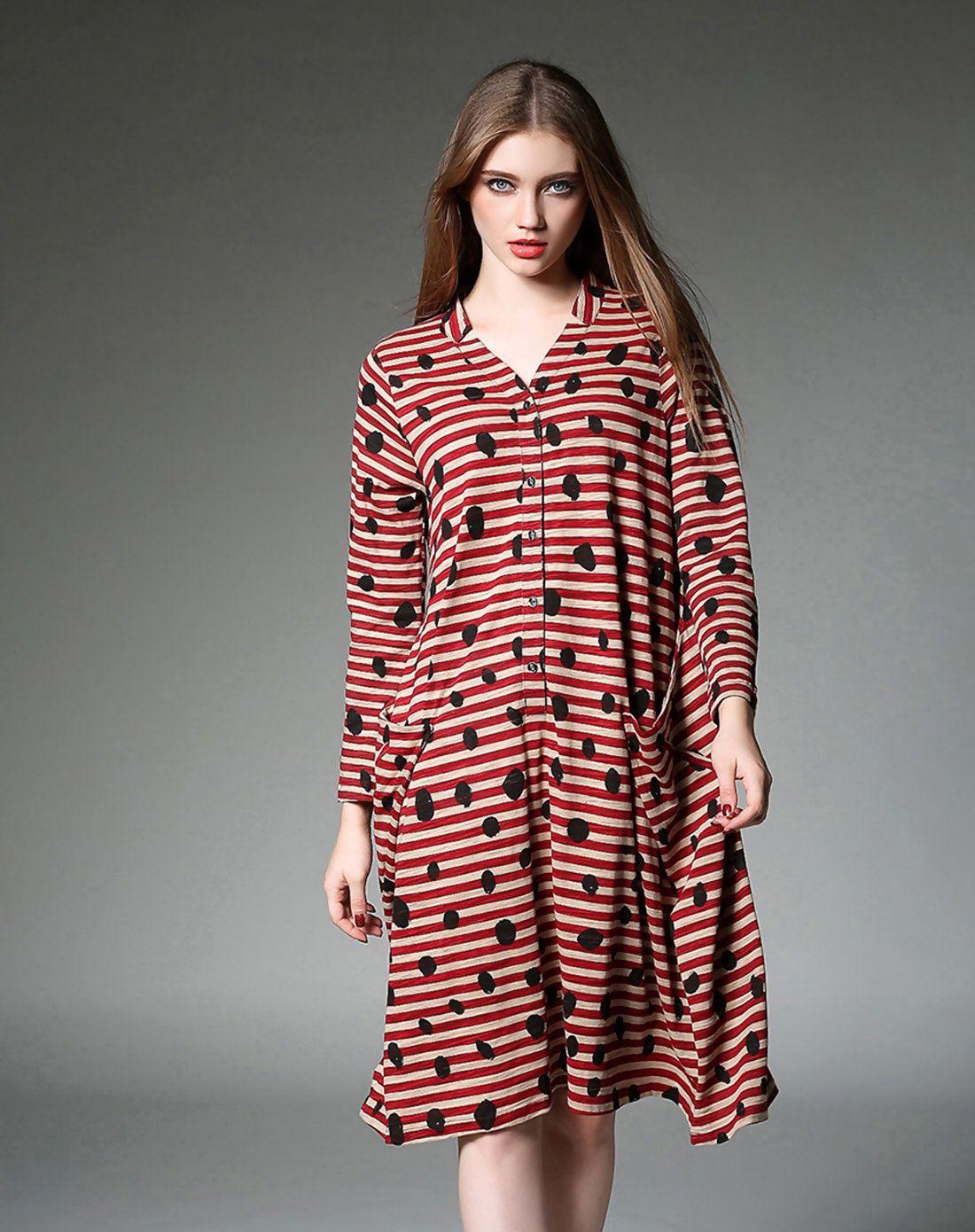Adorewe yearnsane red v neck stripe loose shirt dress adorewe