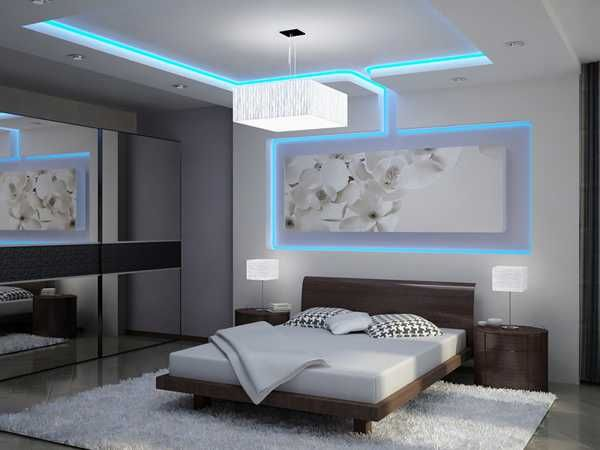 Glowing ceiling designs with hidden led lighting fixtures
