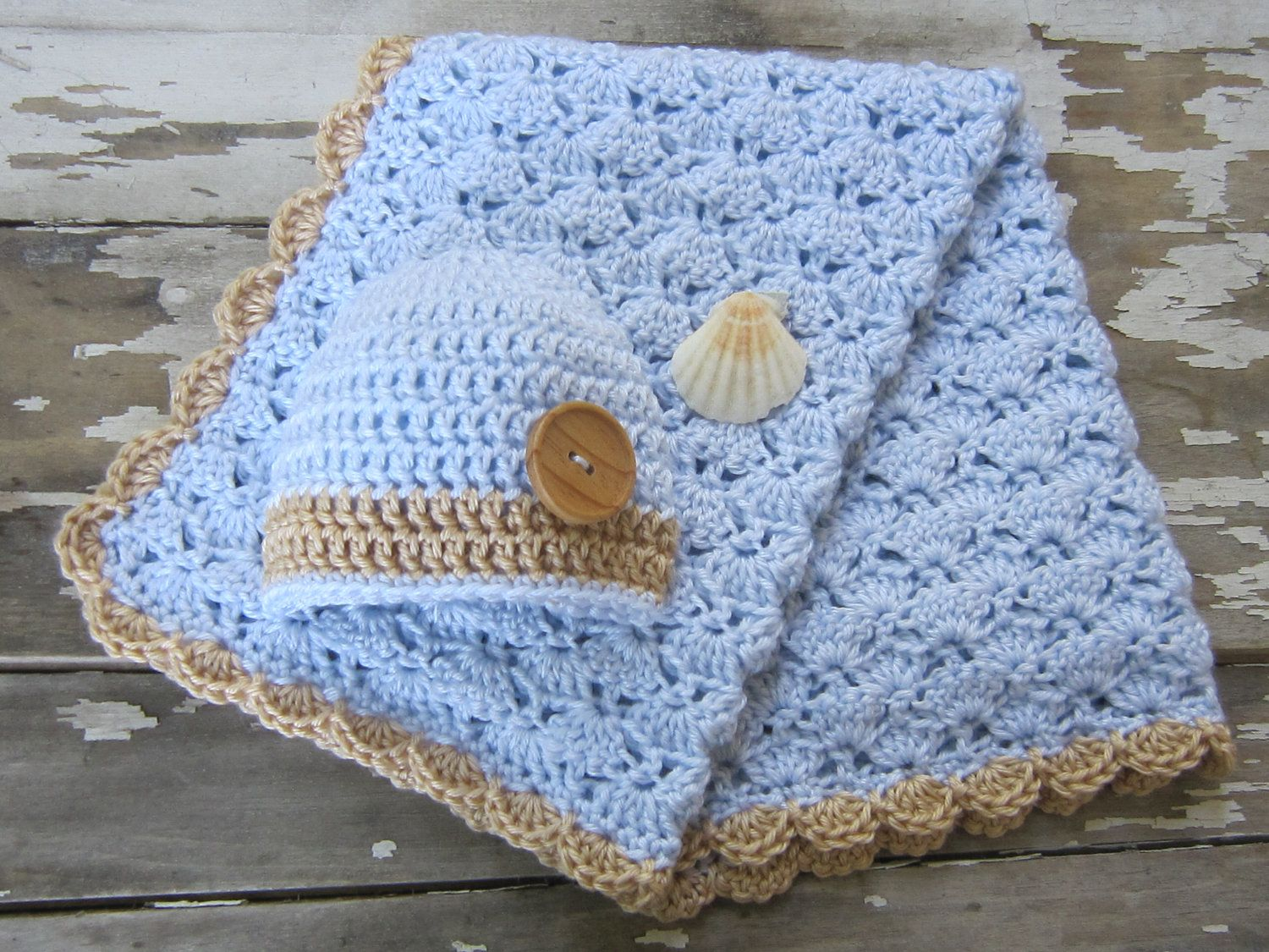 Pale Blue and Tan Seashell Crochet Baby Boy Blanket and Hat Set ...