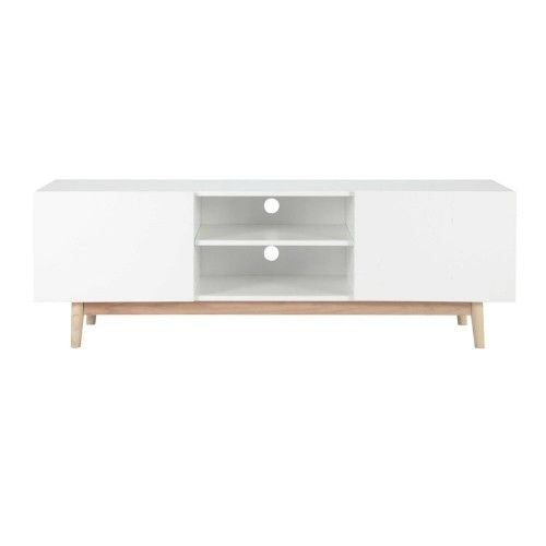 meuble tv vintage en bois blanc l 150 cm artic maisons du monde - Meuble Tv Vintage Andersen