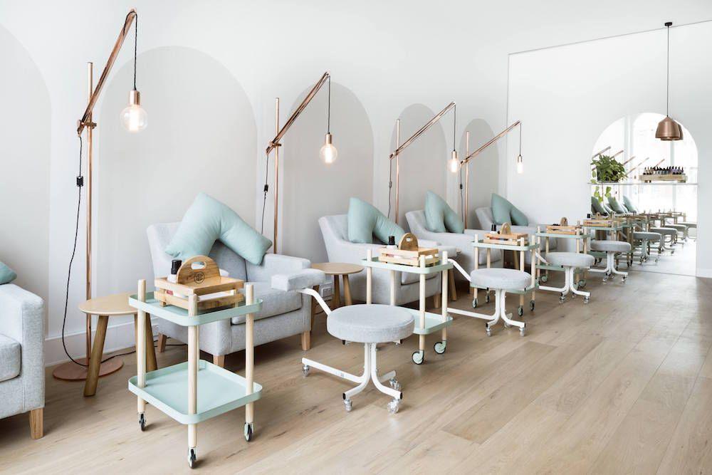Nail Salon   Spa Interiors   Hospitality Design   Pendant Lighting   Aqua  Furniture