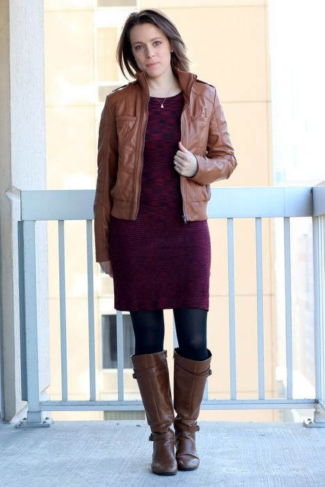 Work Day to Date Night Sweater Dress   Cognac boots Black tights and Office style