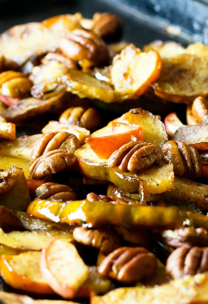 Maple Roasted Acorn Squash With Apples And Pecans Recipe With