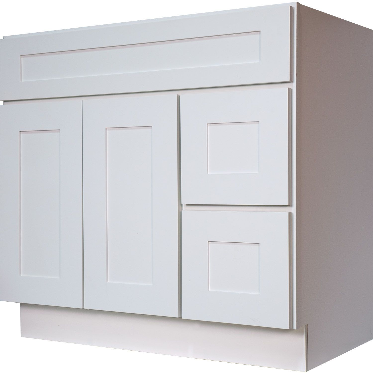 36 Inch Bathroom Vanity Single Sink Cabinet In Shaker White With Soft Close  Drawers