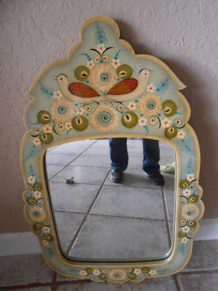 D ❤️Vintage Sermel Tonala Jal Mexico Painted Mirror Floral