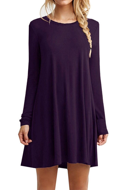 Viishow womenus basic long sleeve casual loose tshirt dress purple
