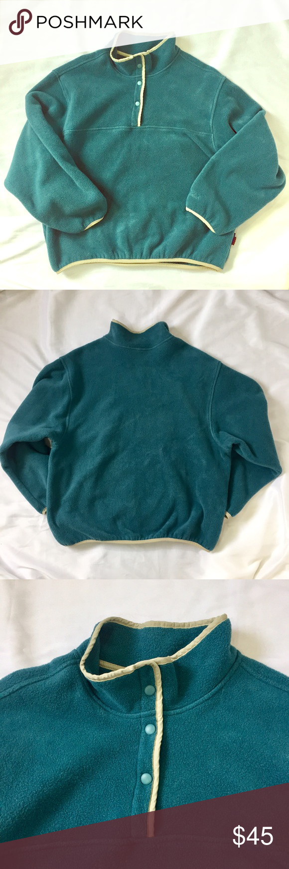 Snap Fleece Pullover Like New! Women's snap neck fleece pullover by Woolrich. Soft, dark teal fleece with contrasting light green trim. Mid-weight fleece is perfect for layering on cold days or as a light jacket. No stains or imperfections. trades smoke free home Woolrich Tops Sweatshirts & Hoodies