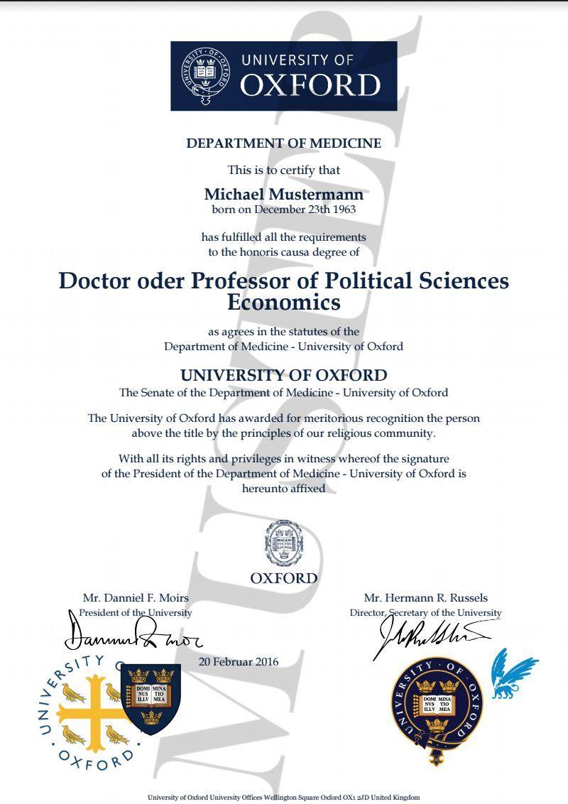 Doktortitel kaufen Oxford University | Berufszertifikate & Diplome ...