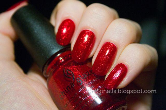 China Glaze Ruby Pumps Red Sparkle Nails Nail Polish