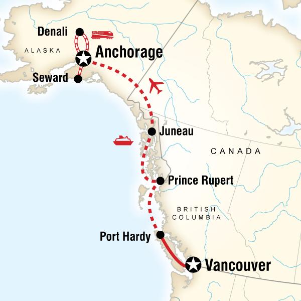 Vancouver & Alaska by Ferry & Rail in Canada | alaska | Alaska ... on russia and bering strait map, pa pennsylvania railroad map, state of alaska bering straits map, old alaska railroad map,