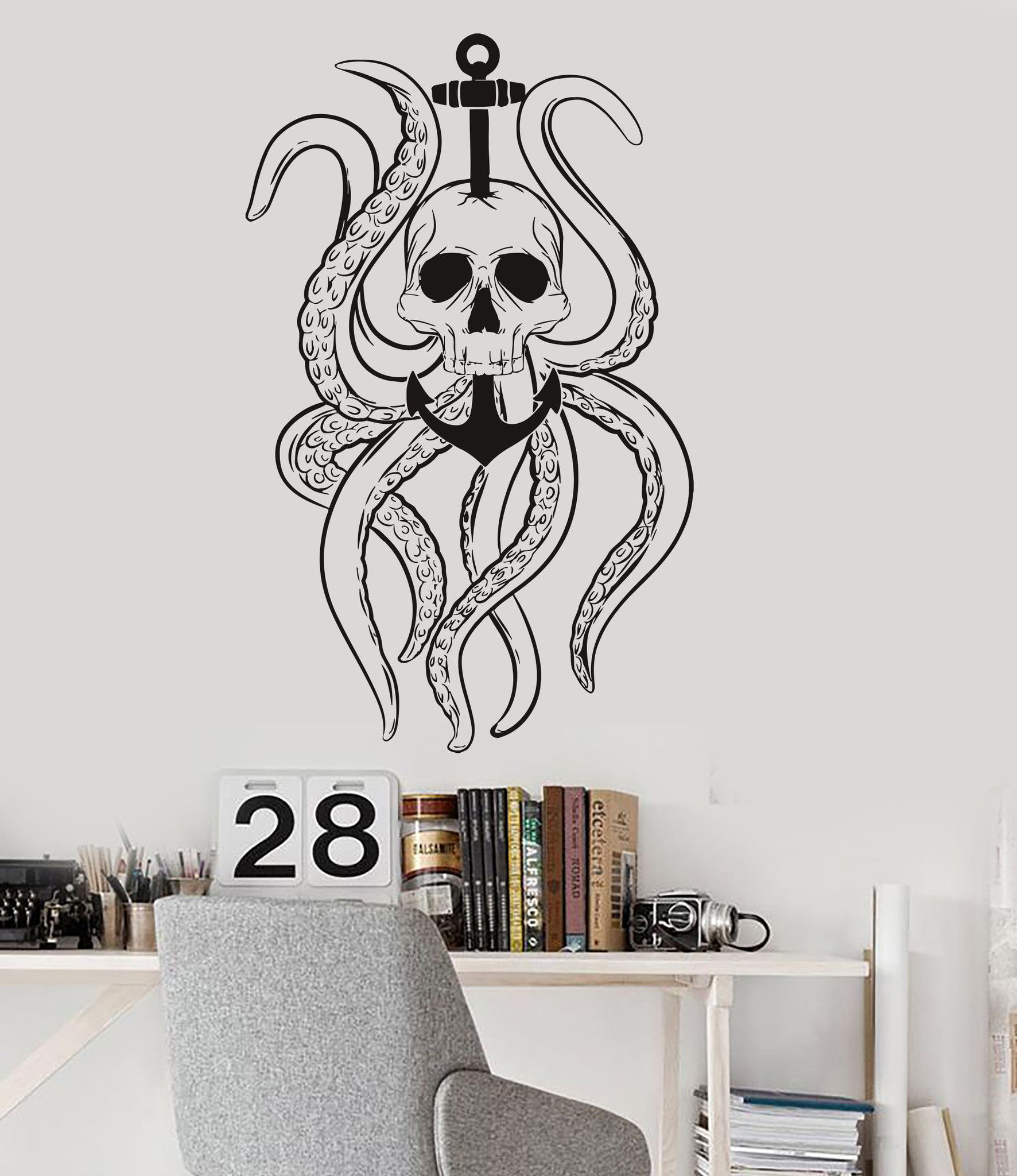 Vinyl wall decal octopus tentacles skull anchor nautical ocean vinyl wall decal octopus tentacles skull anchor nautical ocean stickers ig3584 amipublicfo Image collections