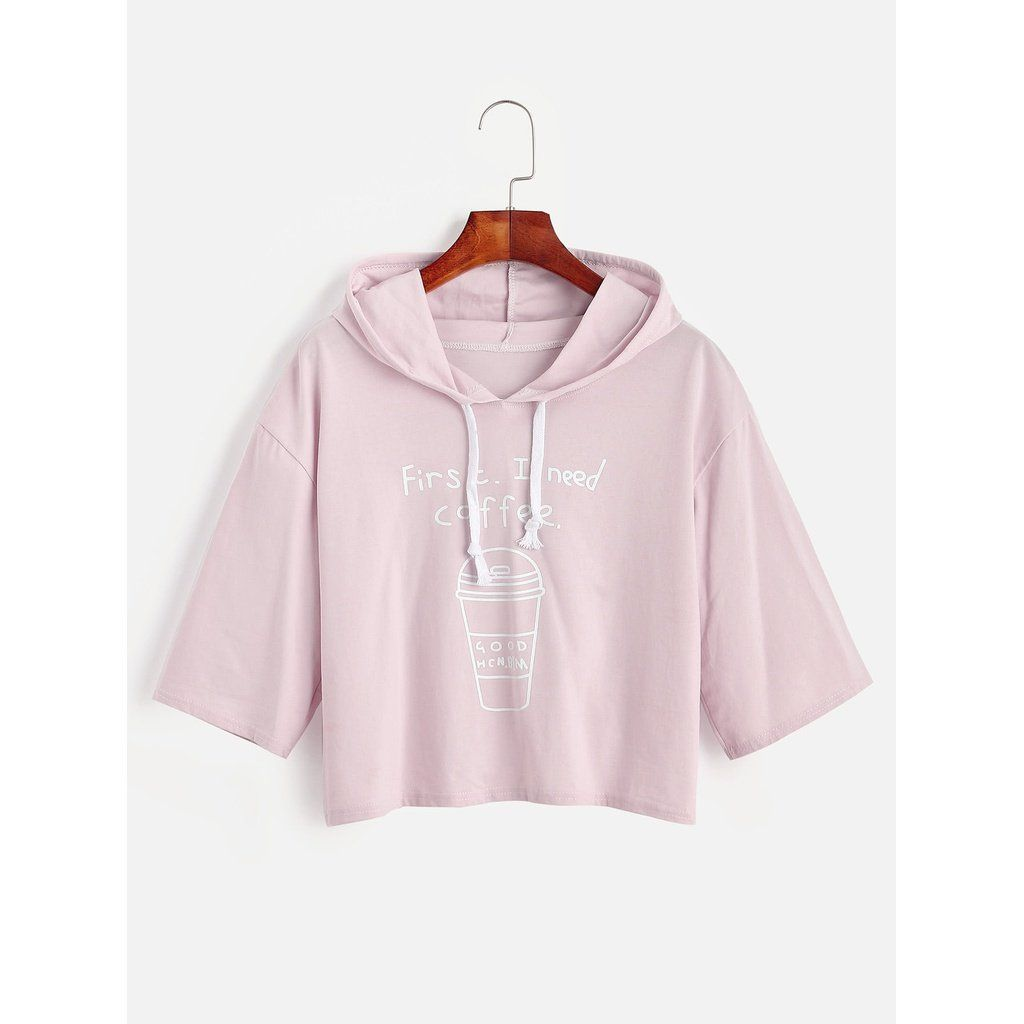 Coffee Cup Slogan Print Drawstring Hooded T Shirt Kleider Online Shop Shirts Und T Shirt