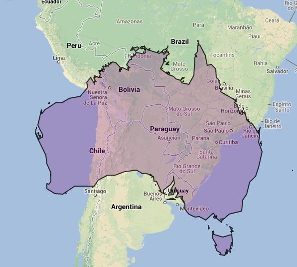 Australia And America Map.Australia Vs South America Travel America Australia South America
