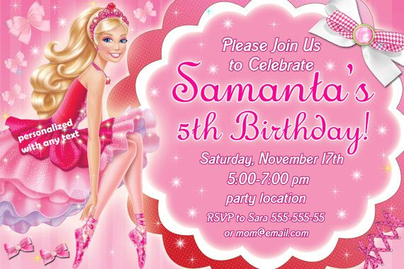 Barbie in the pink shoes Birthday Invitation by DesignFromAlexa