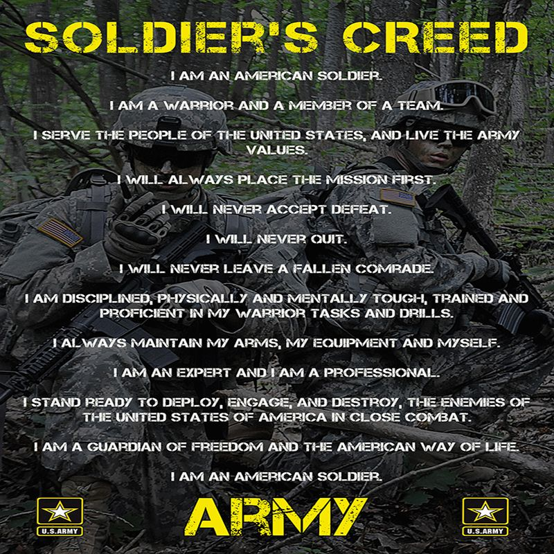 Soldiers Creed   Warrior Creed Tattoos   Pinterest