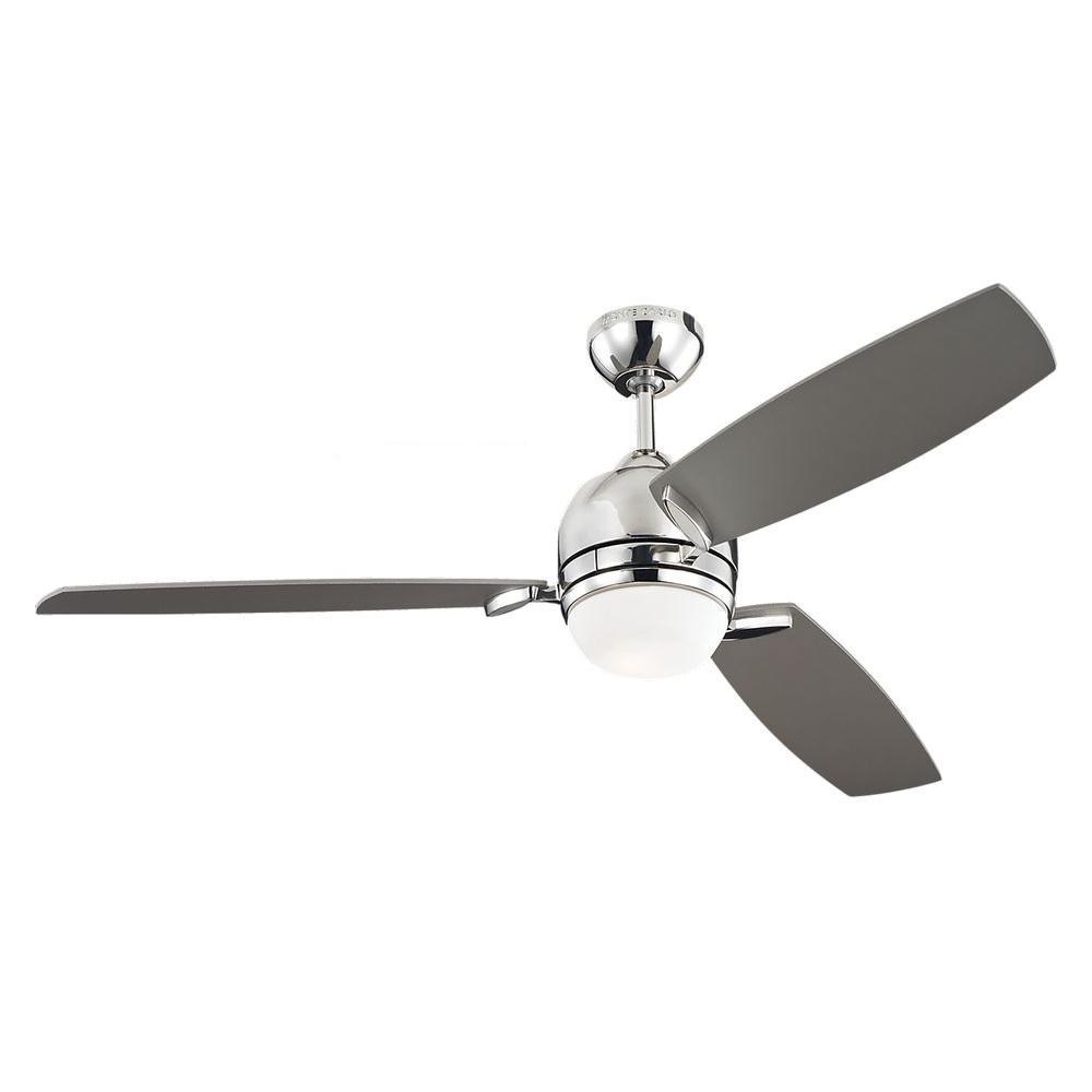 Monte Carlo Muirfield 52 In Polished Nickel Ceiling Fan With Silver Blades 3mur52pnd The Home Depot Ceiling Fan Blades Ceiling Fan With Remote Ceiling Fan