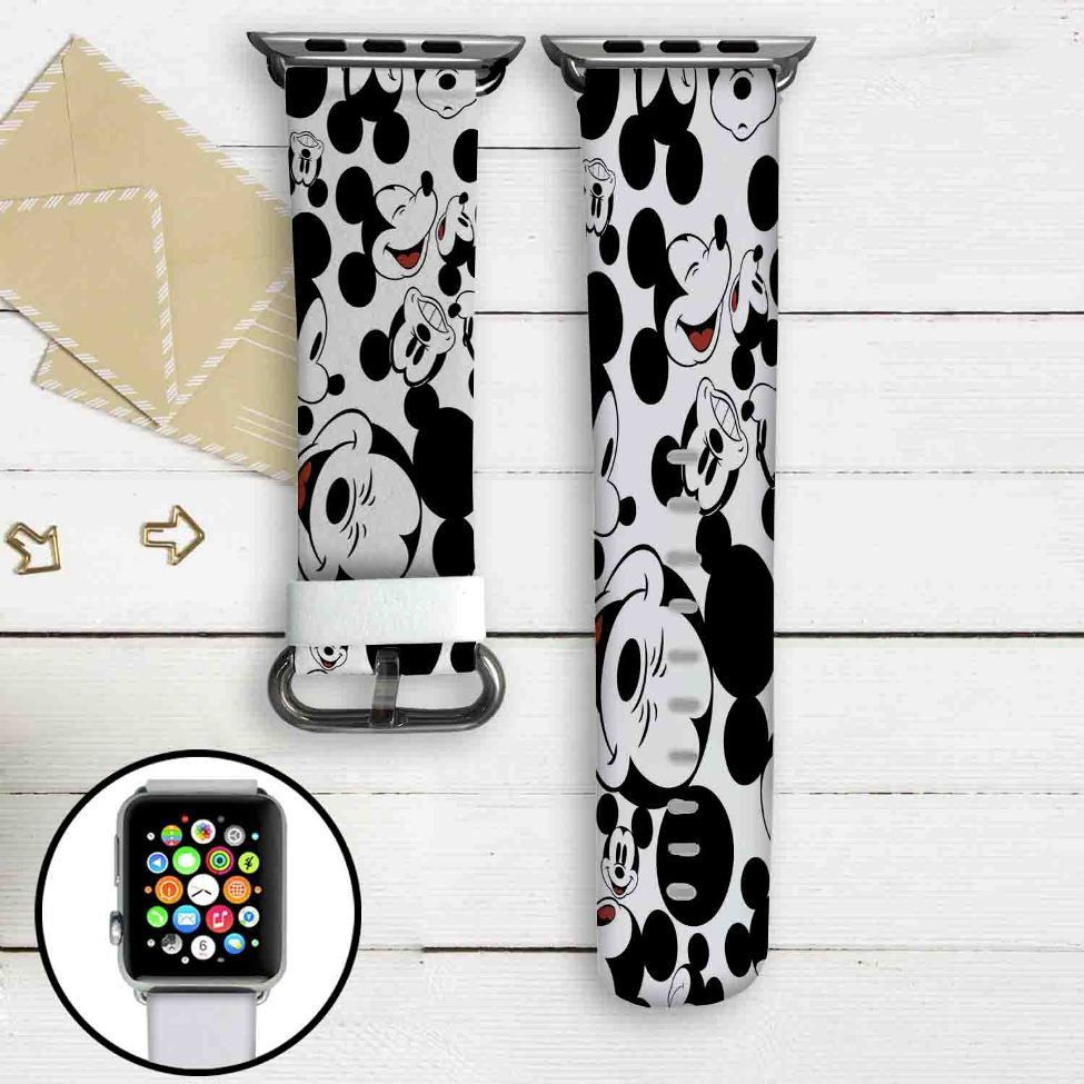 Mickey Mouse Collage Custom Apple Watch Band Leather Strap