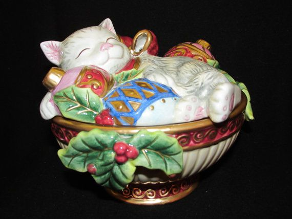 Vintage Christmas Fitz and Floyd Cat with ornaments Holiday candy