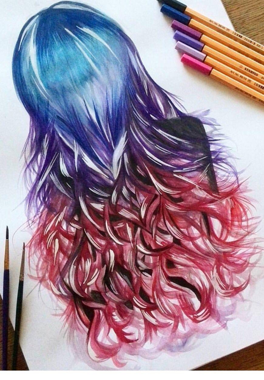 картинки как рисовать волосы в цвете василя так убил