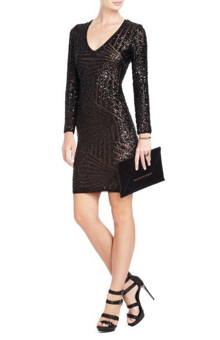 Bcbg Black Morris Sequined Long Sleeves Dress Stylecaster