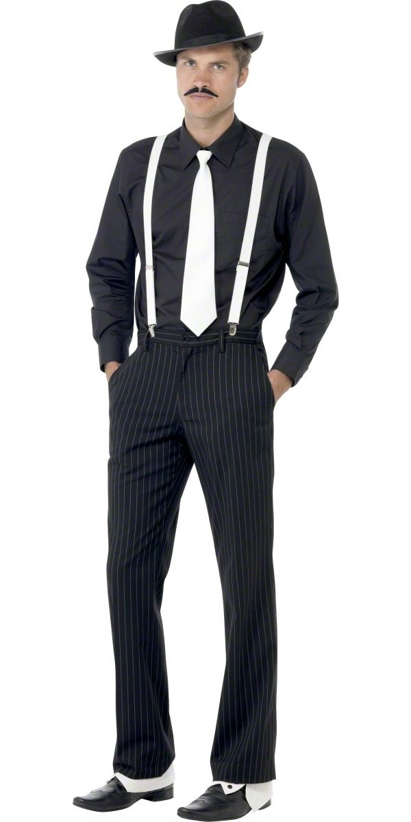 20s Gangster Instant Kit Costume Hat Tie Braces and Tash Mens Fancy Dress