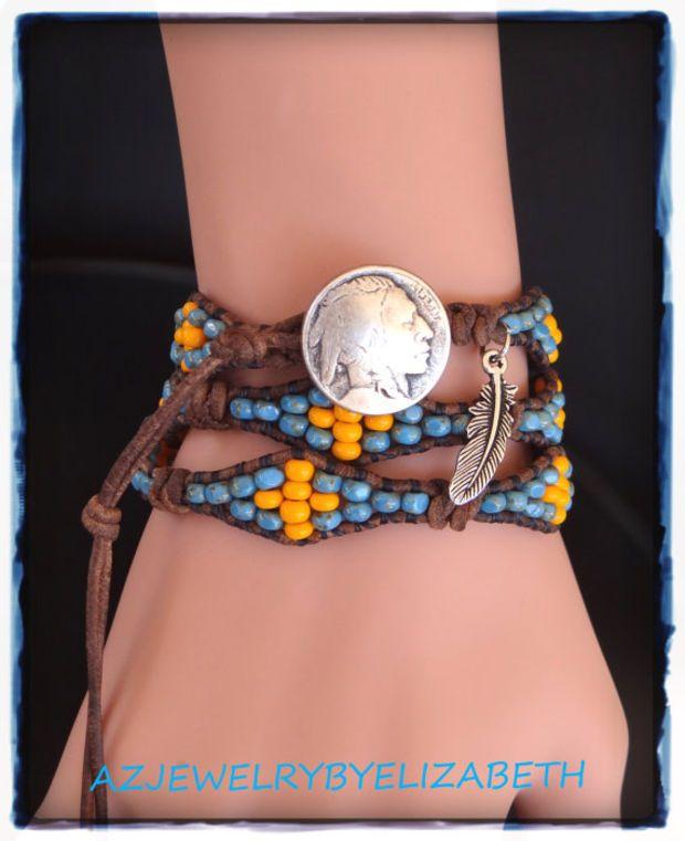 Native American Seed Bead Bracelet Wrap Bracelet Leather Bracelet