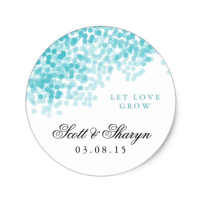 Turquoise Light Shower Wedding Favor Stickers