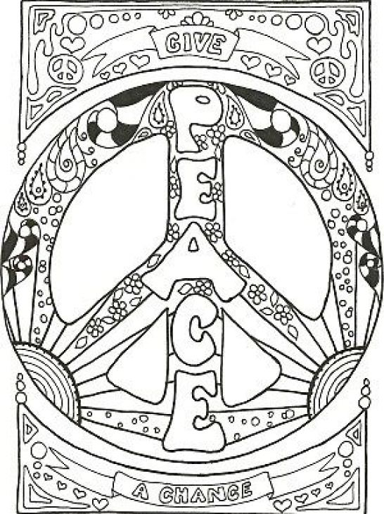 Detailed Peace Sign Doodle Art Coloring Page For Adults