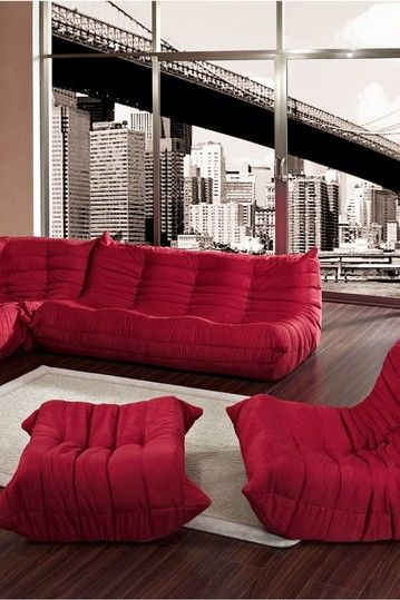 waverunner modular 5 pieces sectional sofa set red by. Black Bedroom Furniture Sets. Home Design Ideas