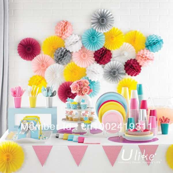 16 100pcs party tissue fan paper fan tissue flowers party favor cheap fan birthday
