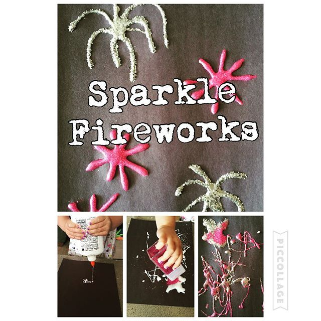 Sparkle Fireworks! {Bree was way excited about using the glue bottle by herself!} #kidsplay #kids4thofjuly #toddlercraft #toddlerfun #toddleractivities #toddlerart #toddlerplay