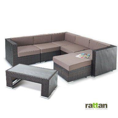 Rattan Garden Corner Sofa with Coffee Table - Large Modular Seating ...