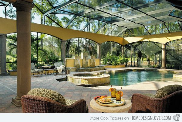 15 Stylish Pool Enclosure For Year Round Pool Usage Home Design Lover Pool Enclosures Pool Houses Mediterranean Style House Plans