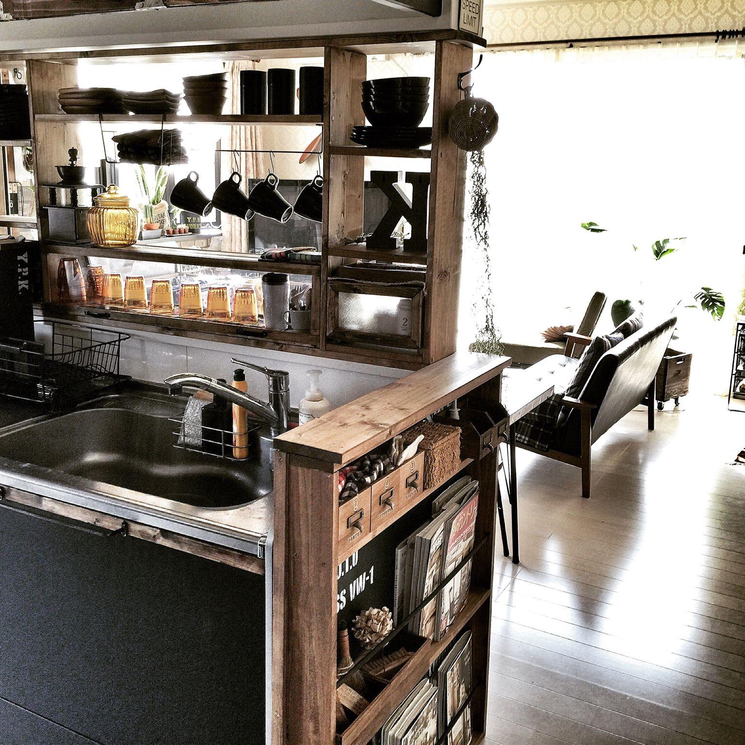 キッチン カウンター棚diy 見せる収納 男前 カフェ風 などの