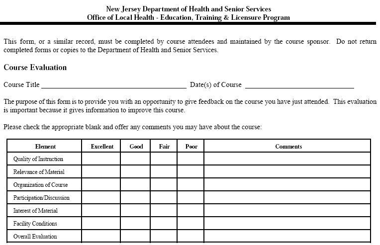 Sample Course Evaluation Forms Course Evaluation Form Health Course