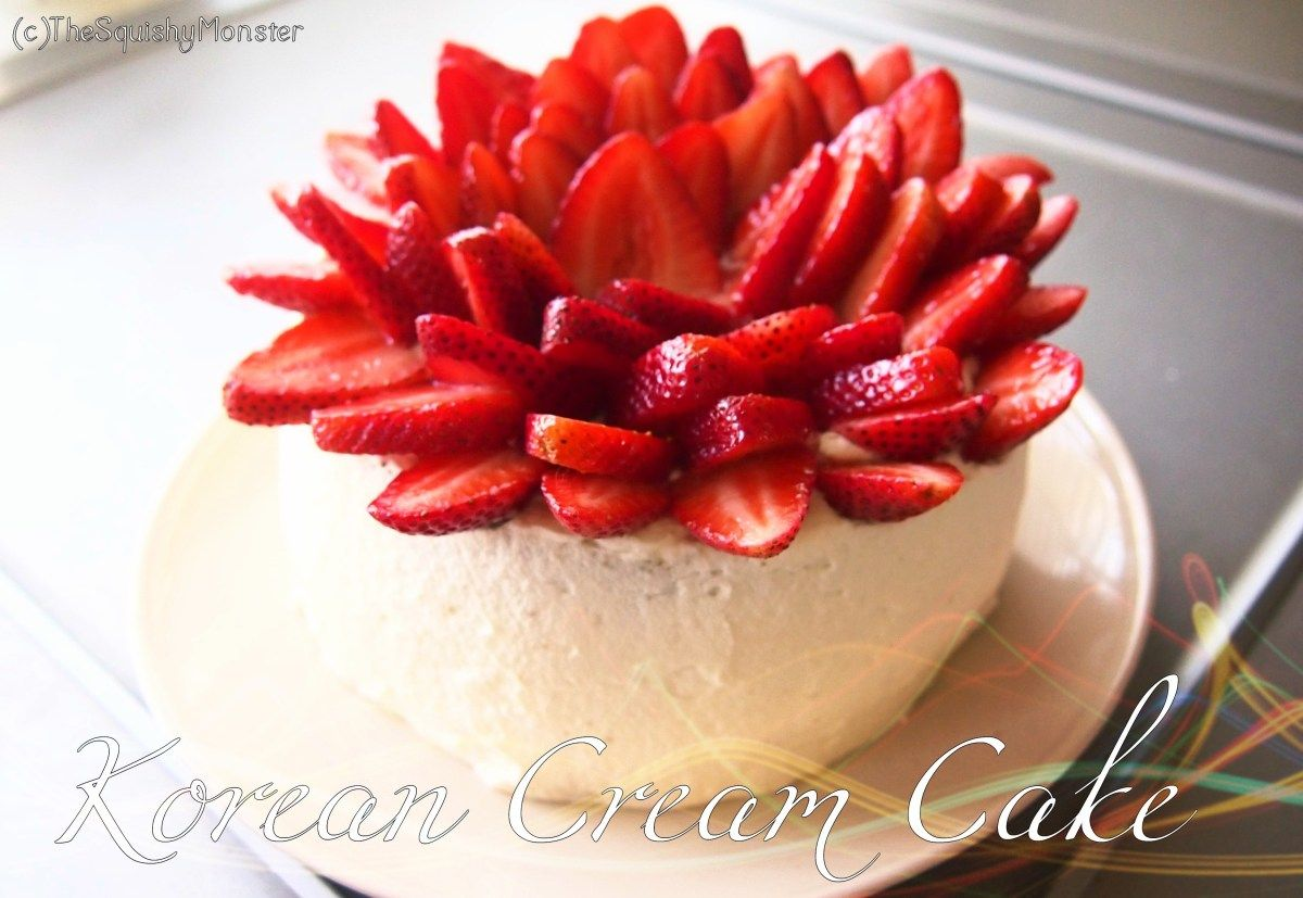 This Korean bakery style cake has soft and fluffy layers of cake