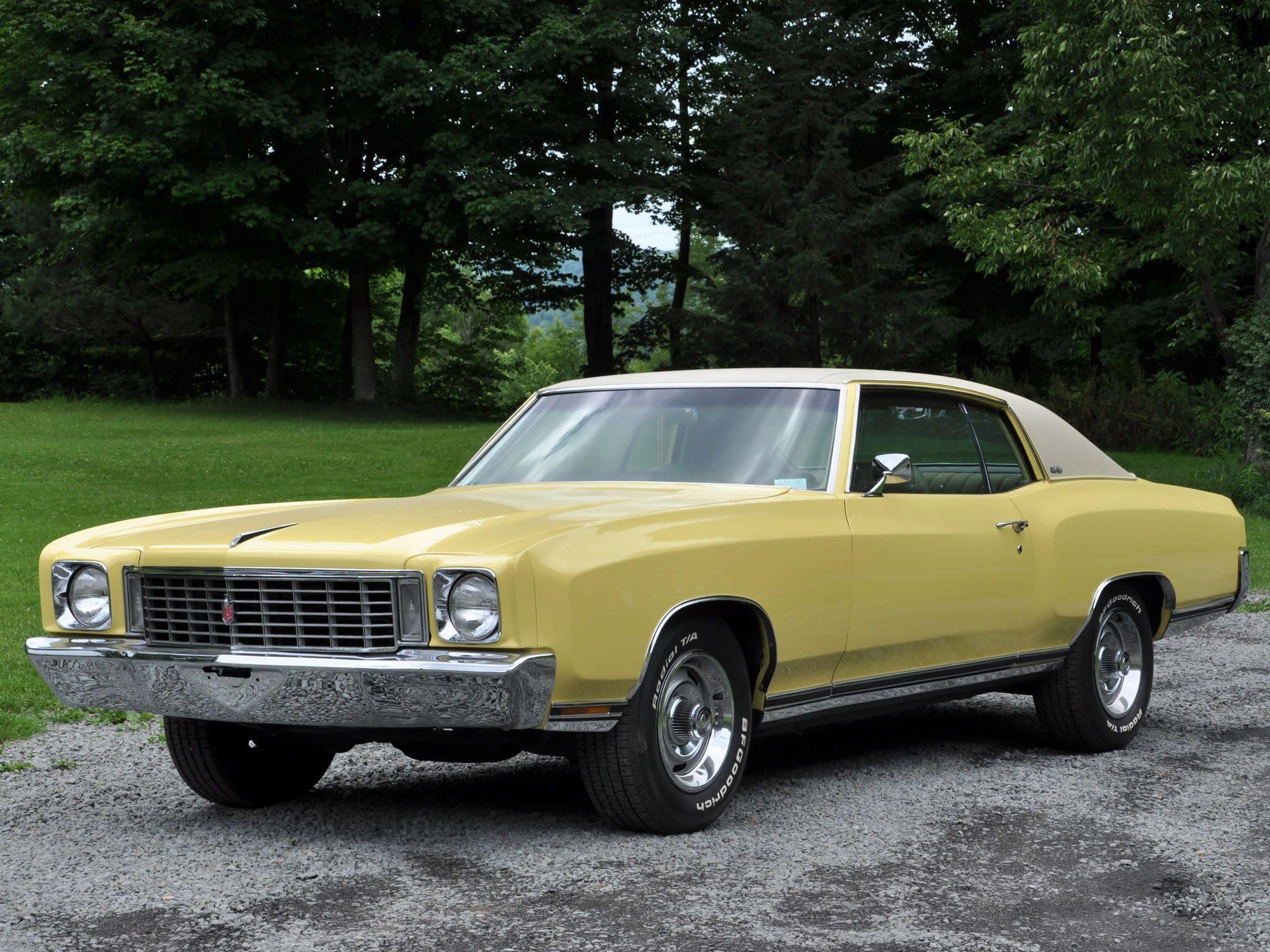 1972 chevrolet monte carlo yellow exterior white top