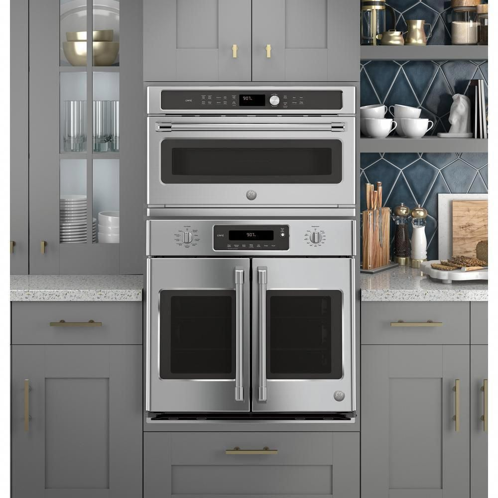 Cafe 30 In 1 7 Cu Ft Single Electric Convection Wall Oven With Built In Microwave In Stainless Steel Cwb7030slss The Home Depot Wall Oven Kitchen French Door Wall Oven Convection Wall Oven