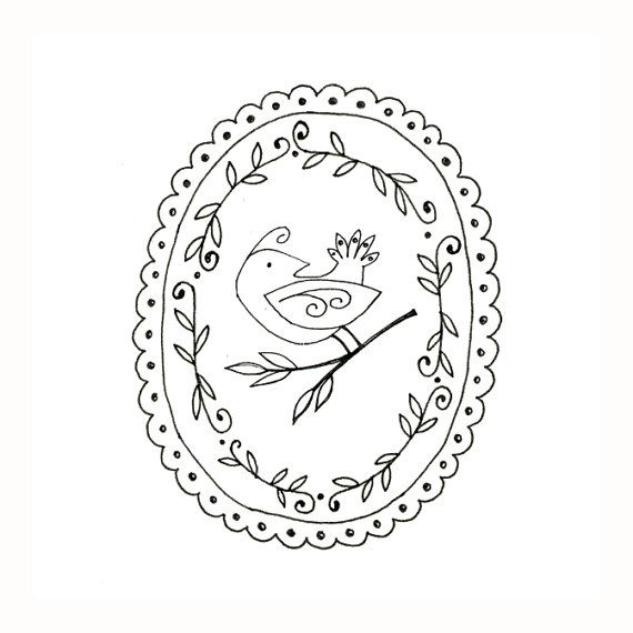 Bird Embroidery Pattern Woodland Animal Digital Downloadable Ideas