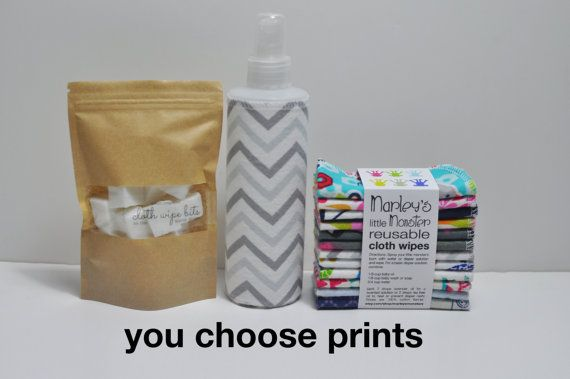 CLOTH WIPING gift set. 12 Reusable cloth wipes, spray bottle and cloth wipe bits. You choose prints.