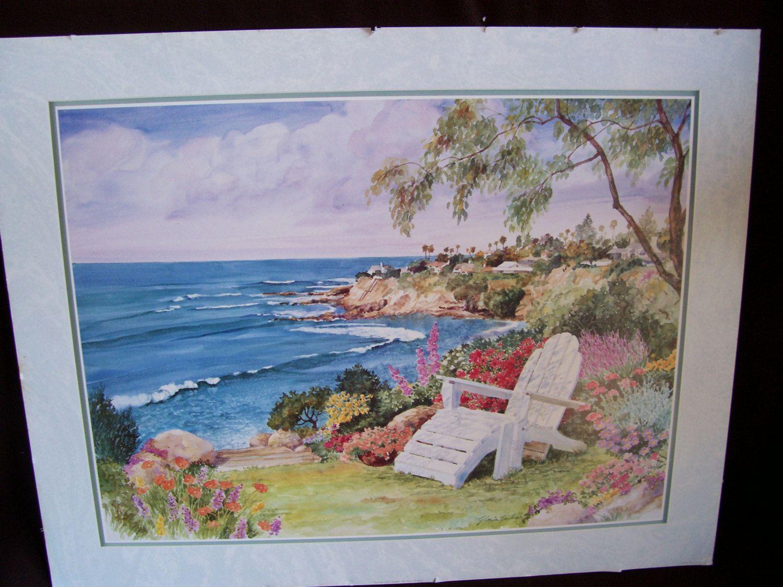 Vintage Signed Art Print By Gloria Eriksen Seaside Cliff