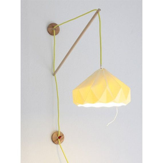 i love everything about this pretty paper lamp. i bet i could make the hanging fixture fairly easily on my own. the paper shade...i'm not so sure. ;)