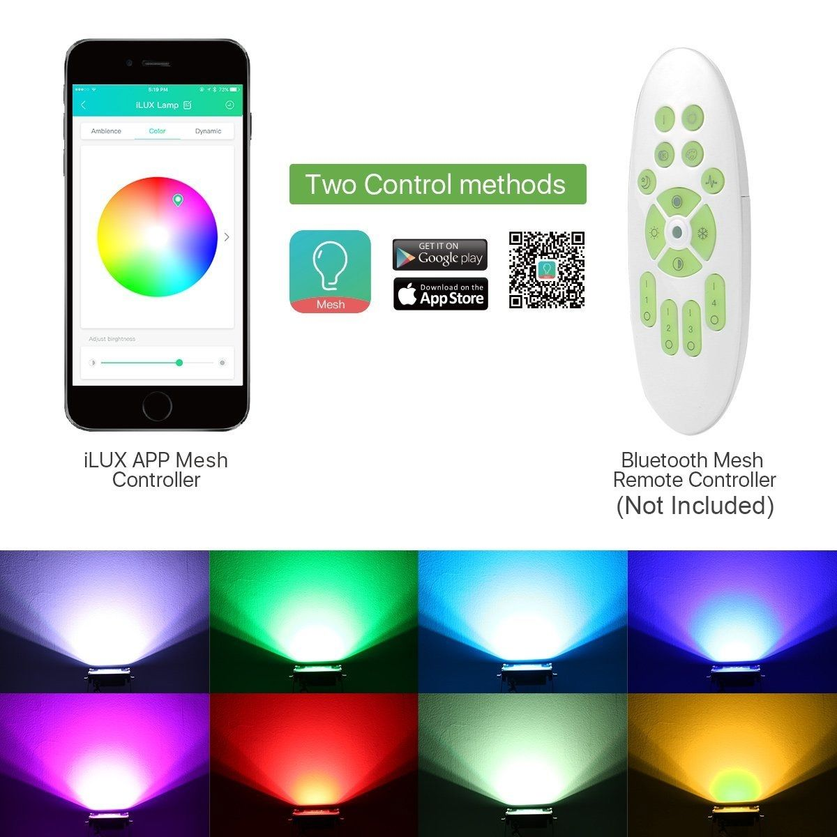 LE iLUX Smart LED Flood Lights, Outdoor Plug in, 10W RGB
