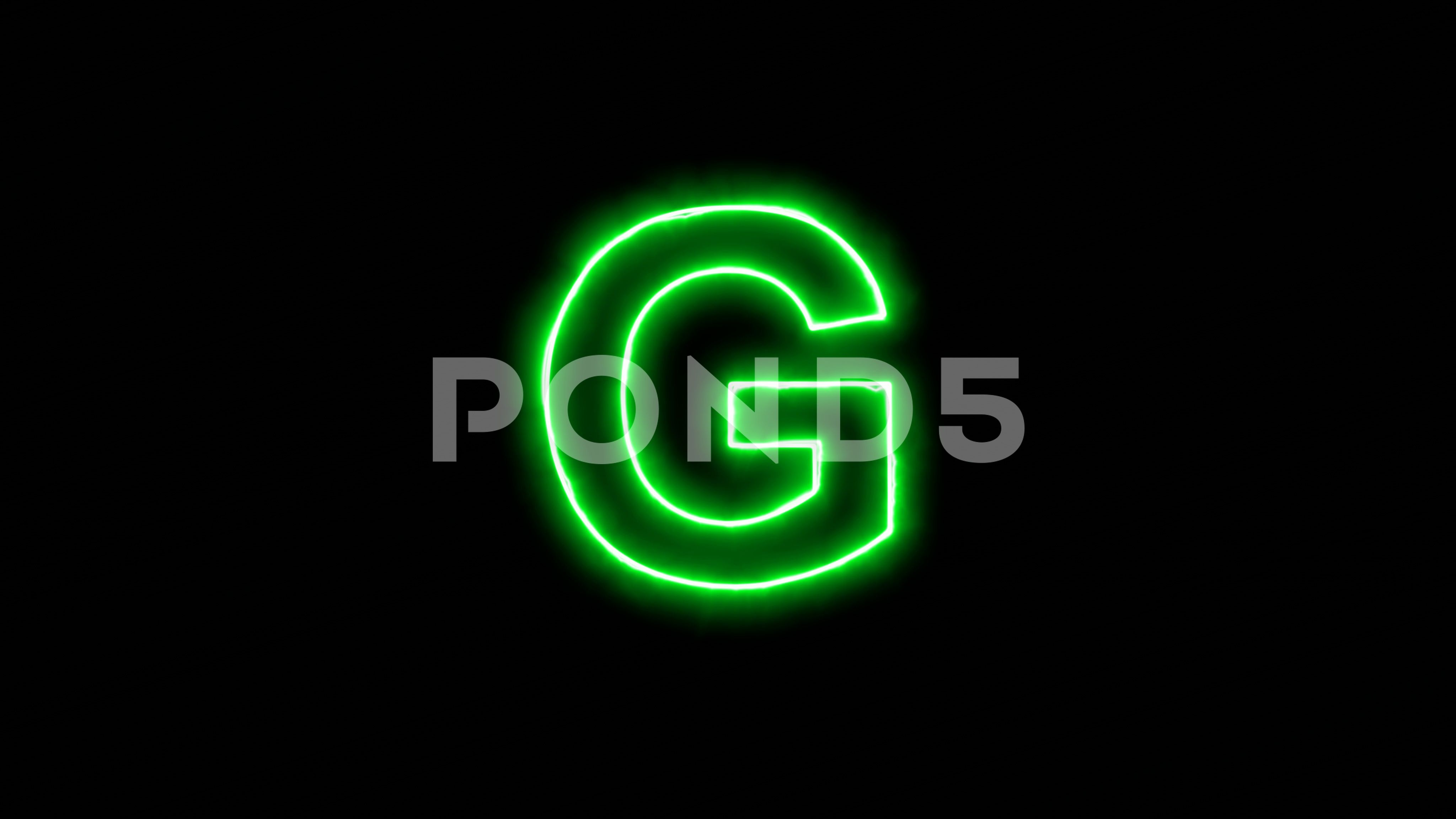 Neon flickering green latin letter G in the haze. Alpha channel