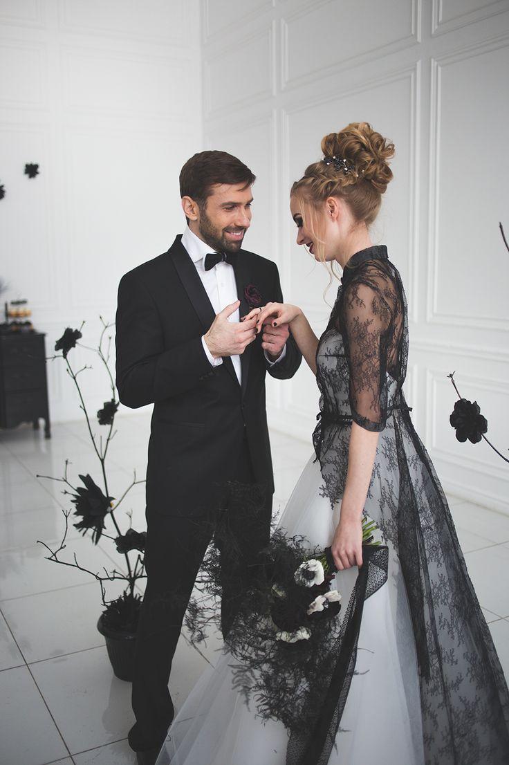 Black white wedding dress  Black and white wedding dress for A Magic Black Wedding Inspiration