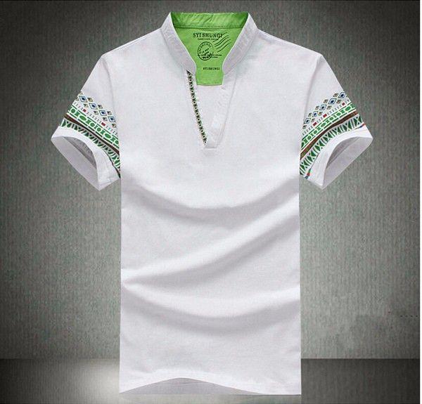 National Style Men Polo Loose Short Sleeve T Shirts Plus Size S-3XL at Banggood